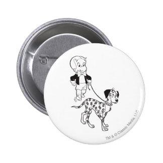 Richie Rich Walks Dollar the Dog - B&W 6 Cm Round Badge