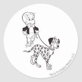 Richie Rich Walks Dollar the Dog - B&W Classic Round Sticker