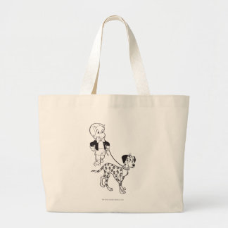 Richie Rich Walks Dollar the Dog - B&W Large Tote Bag