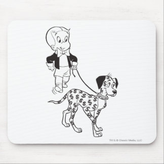 Richie Rich Walks Dollar the Dog - B&W Mouse Mat
