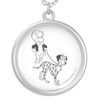 Richie Rich Walks Dollar the Dog - B&W Silver Plated Necklace