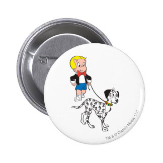 Richie Rich Walks Dollar the Dog - Color 6 Cm Round Badge