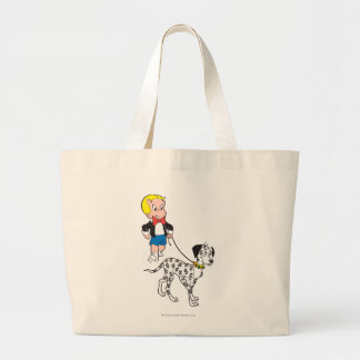 Richie Rich Walks Dollar the Dog - Color Large Tote Bag