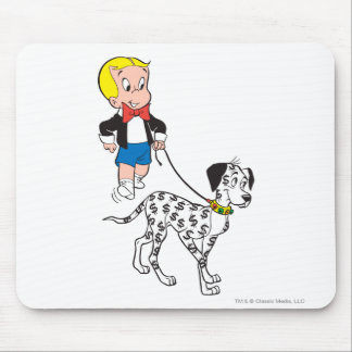 Richie Rich Walks Dollar the Dog - Color Mouse Pad