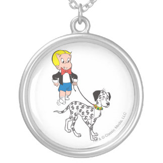 Richie Rich Walks Dollar the Dog - Color Silver Plated Necklace