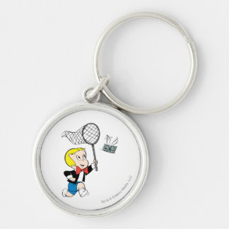 Richie Rich with Net - Color Silver-Colored Round Key Ring
