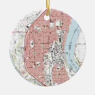 Richland Washington Map (1992) Christmas Ornament