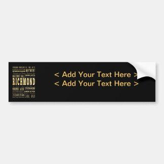 Richmond City if Virginia Typography Art Bumper Sticker