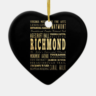 Richmond City if Virginia Typography Art Christmas Ornament