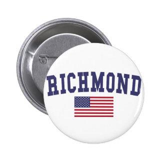 Richmond IN US Flag 6 Cm Round Badge