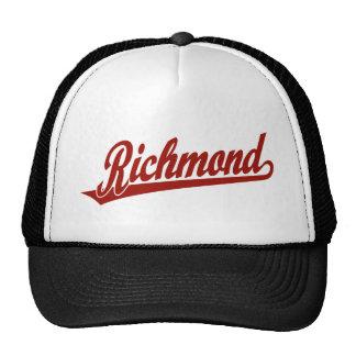 Richmond script logo in red cap