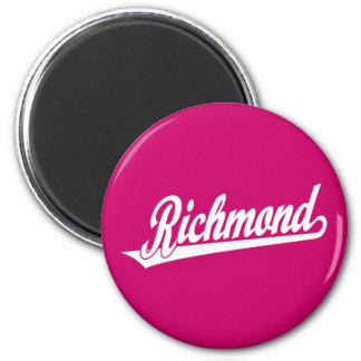 Richmond script logo in white refrigerator magnet