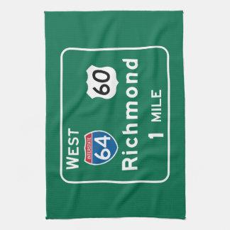 Richmond, VA Road Sign Tea Towel