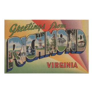 Richmond, Virginia - Large Letter Scenes Poster