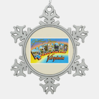 Richmond Virginia VA Old Vintage Travel Postcard- Snowflake Pewter Christmas Ornament