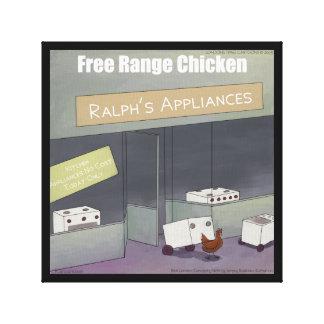 Rick London Funny Free-Range Chicken Print Canvas Print