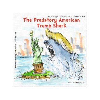Rick London Funny Trump Shark Canvas Print
