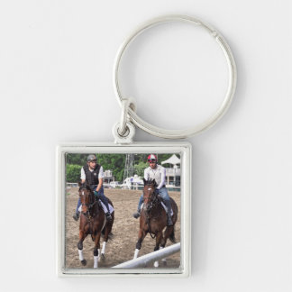 Rick Violette Morning Workouts at Saratoga Silver-Colored Square Key Ring