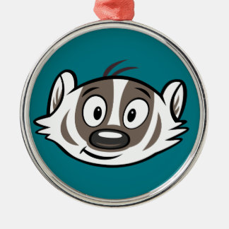 Ricky Raccoon | Boomer Badger Face Silver-Colored Round Decoration