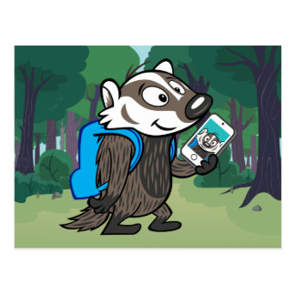 Ricky Raccoon | Boomer Badger Selfie Postcard
