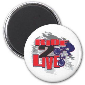 Ride 2 Live Live 2 Ride BMX rider 6 Cm Round Magnet