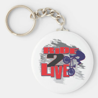 Ride 2 Live Live 2 Ride BMX rider Basic Round Button Key Ring