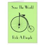 Ride A Bicycle Vintage Greeting Card
