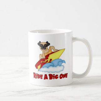 Ride A Big One Pug Surfing Tees and Gifts Basic White Mug