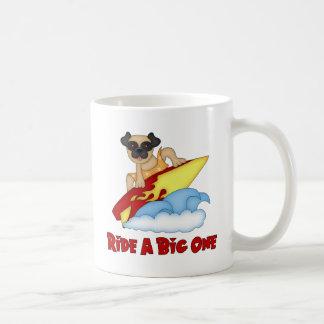Ride A Big One Pug Surfing Tees and Gifts Coffee Mug