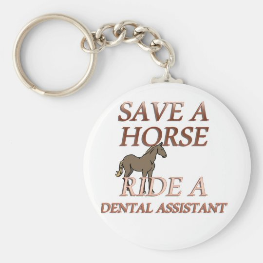 Ride a Dental Assistant Basic Round Button Key Ring