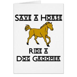 ride a dog groomer card