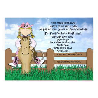 Ride 'em Cowgirl Blonde Braided Invitation