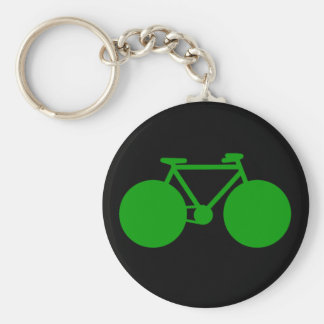 ride on . bicycle green attitude basic round button key ring