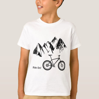 Ride On! Mountain Bike Silhouette w/ Mountains T-Shirt