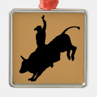 Ride Rank Bull Riding Rodeo Cowboy Up Silver-Colored Square Decoration