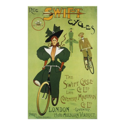 Ride Swift Cycles Vintage Poster