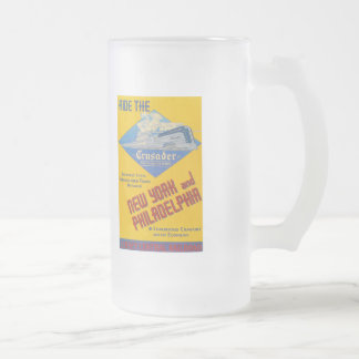 Ride The Crusader-New Jersey Central Lines 16 Oz Frosted Glass Beer Mug