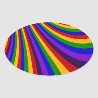 Ride the Rainbow Slide Colorful Stripes Oval Sticker
