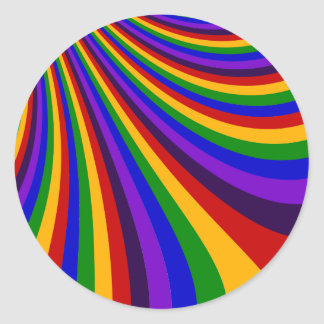 Ride the Rainbow Slide Colorful Stripes Round Sticker