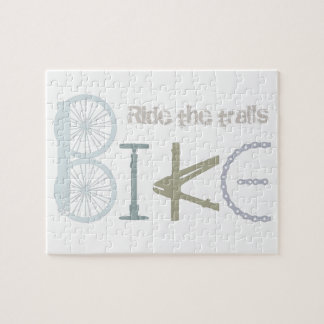 Ride the Trails Bike Graffiti Sport Quote Jigsaw Puzzle
