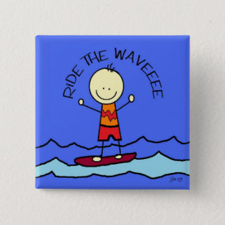ride the wave 15 cm square badge