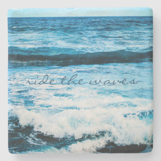 """Ride the waves"" blue ocean photo stone coaster"