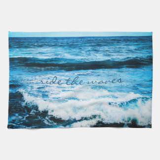 """Ride the Waves"" Hawaii Blue Ocean Photo Kitchen Tea Towel"