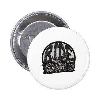 Ride Vintage Motorcycle 6 Cm Round Badge