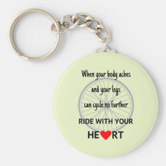 Ride with heart cycling motivational quote green key ring