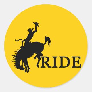 RIDE with the cowboy Round Sticker