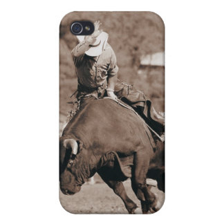 Rider about to fall off bucking bull iPhone 4/4S case
