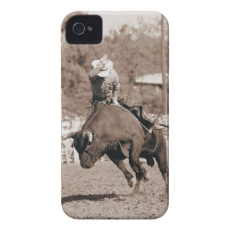 Rider about to fall off bucking bull iPhone 4 Case-Mate cases