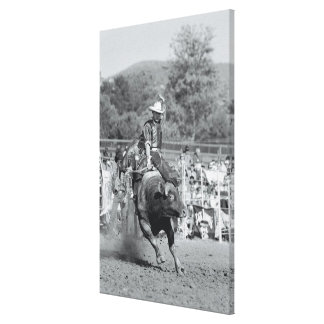Rider hanging on to bucking bull 2 canvas print