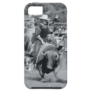 Rider hanging on to bucking bull iPhone 5 cases